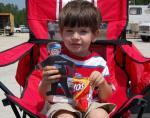Flat Stanley watches races with boy