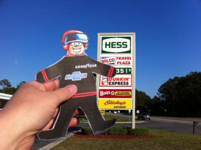 Flat Stanley at Hess Gas Station: Flat Stanley stops at gas station in South Georgia on his way to race in Saint Augustine.