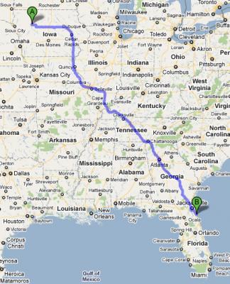 Map Saint Augustine, Florida - Newell, Iowa