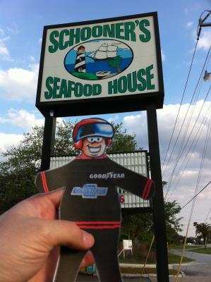 Flat Stanley goes out to eat: Flat Stanley goes out to eat at Schooner's Seafood House.